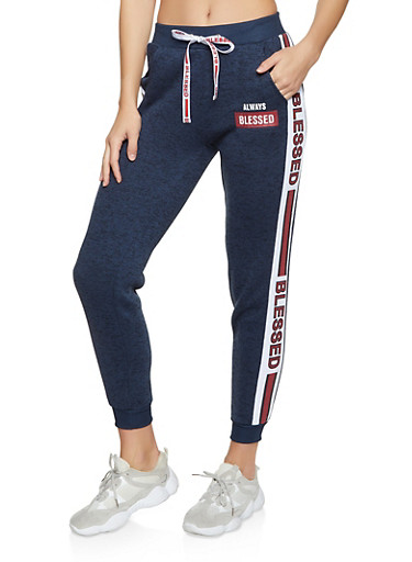 Always Blessed Knit Joggers,NAVY,large