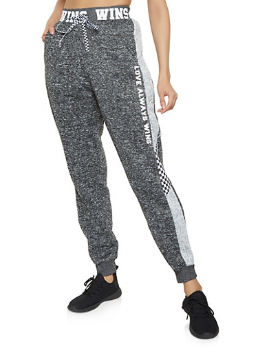 Love Always Wins Knit Joggers,CHARCOAL,large