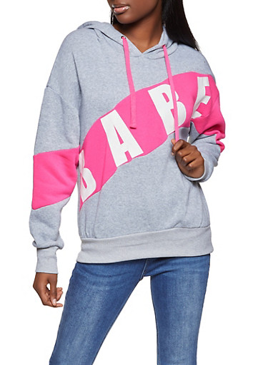 Babe Color Block Sweatshirt,HEATHER,large