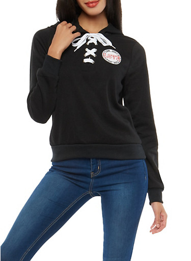 Love Graphic Lace Up Sweatshirt,BLACK,large