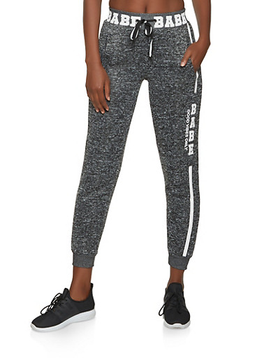 Babe Good Vibes Only Knit Joggers,CHARCOAL,large