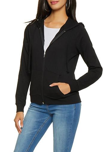 Zip Up Hooded Sweatshirt,BLACK,large
