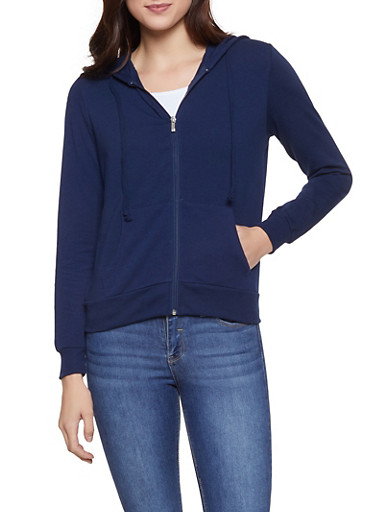 Zip Up Hooded Sweatshirt,NAVY,large