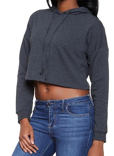 Cropped Hooded Sweatshirt,CHARCOAL,large
