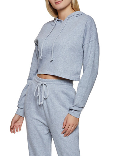 Cropped Pullover Sweatshirt,HEATHER,large