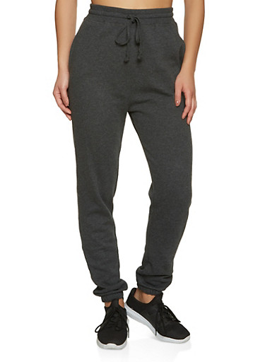 Fleece Lined Solid Joggers | 1056054261749,CHARCOAL,large