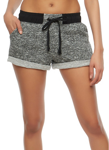 Marled French Terry Shorts,CHARCOAL,large