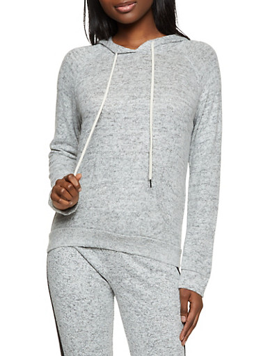 Hooded Brushed Knit Top,HEATHER,large
