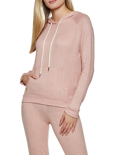 Hooded Brushed Knit Top,MAUVE,large