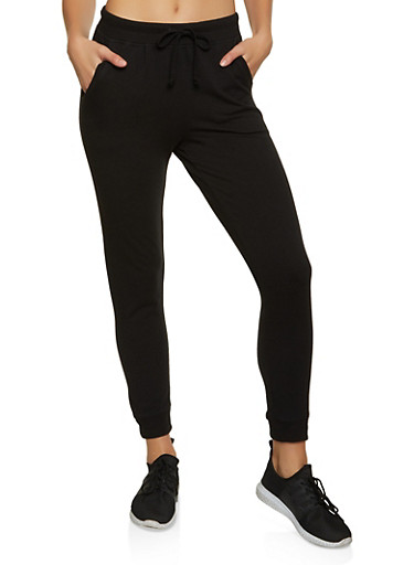 Solid French Terry Joggers,BLACK,large