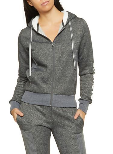 Love Sherpa Hooded Sweatshirt,CHARCOAL,large