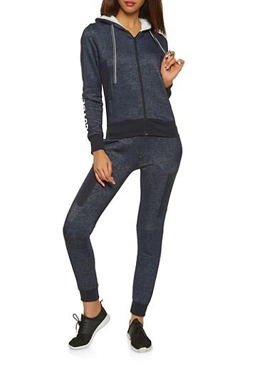 Love Sherpa Hooded Sweatshirt,NAVY,large