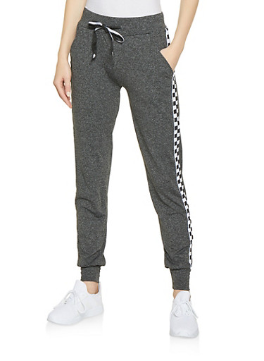 Checkered Tape Trim Activewear Joggers,CHARCOAL,large