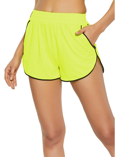 Two Pocket Contrast Trim Dolphin Shorts,NEON YELLOW,large