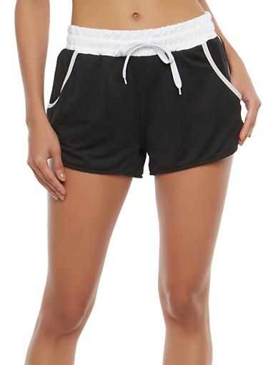 Contrast Trim Activewear Shorts,BLACK,large