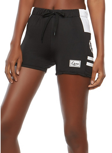 Love Graphic Shorts,BLACK,large