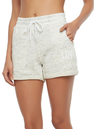Love Graphic Activewear Shorts,OATMEAL,large