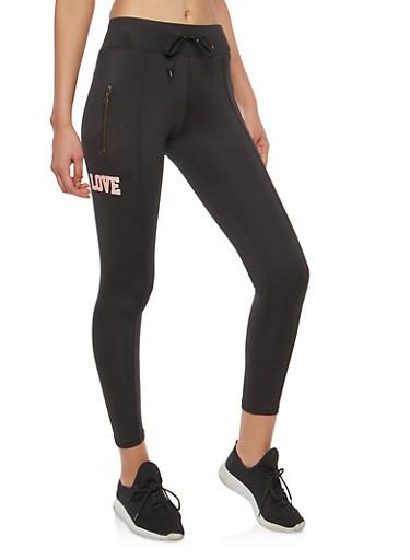 Graphic Zip Pocket Leggings,BLACK,large