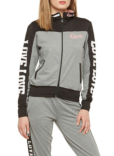Love Graphic Color Block Track Jacket,HEATHER/BLACK,large