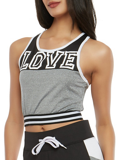Love Graphic Color Blocked Crop Top | Tuggl