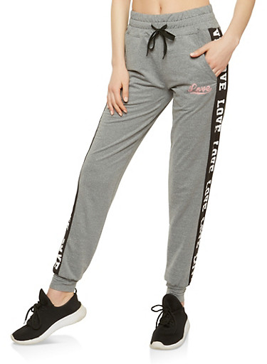 Love Graphic Drawstring Waist Sweatpants,HEATHER/BLACK,large