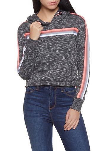 Striped Tape Hooded Sweatshirt,CHARCOAL,large