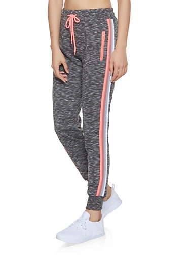 Striped Tape Trim Fleece Joggers,CHARCOAL,large
