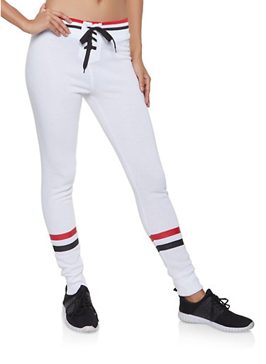 Lace Up Joggers,WHITE,large