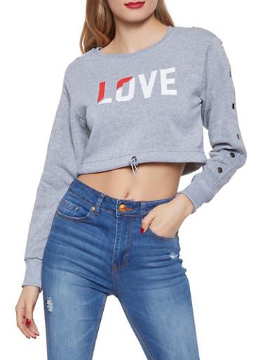 Cropped Love Graphic Sweatshirt,GRAY,large