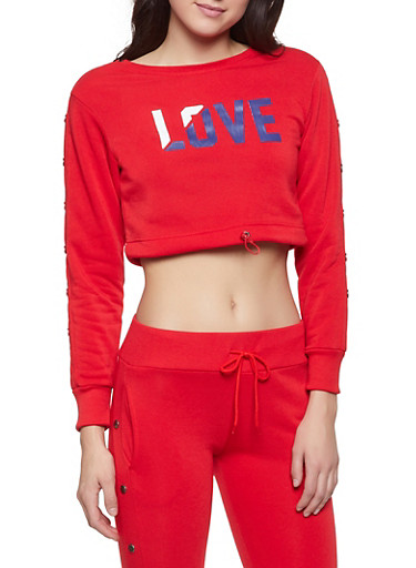 Cropped Love Graphic Sweatshirt,RED,large