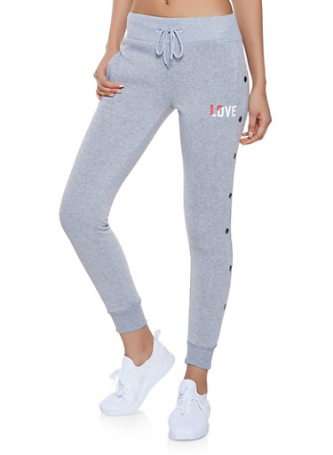 Love Graphic Joggers,GRAY,large
