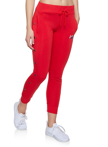Love Graphic Joggers,RED,large