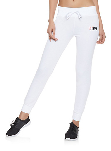 Fleece Lined Love Graphic Joggers,WHITE,large