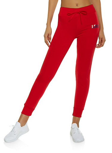 Fleece Lined Love Graphic Joggers,RED,large