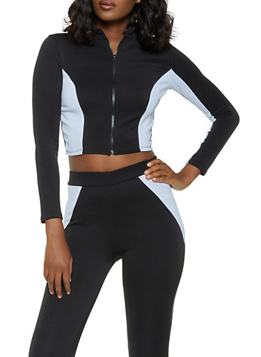 Color Block Cropped Track Jacket,BLACK/WHITE,large
