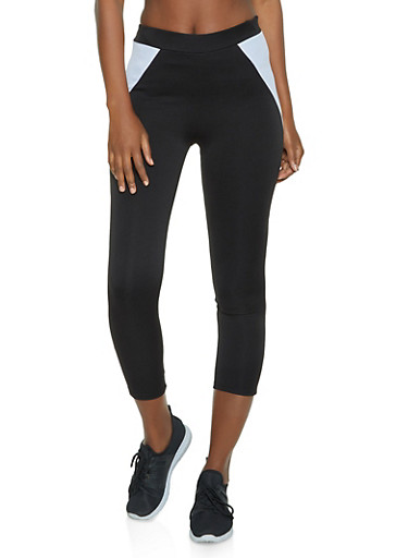 Color Block Cropped Active Pants,BLACK/WHITE,large
