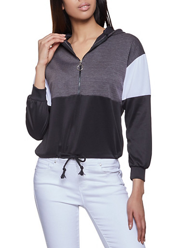 Color Block Half Zip Hooded Sweatshirt,HEATHER,large