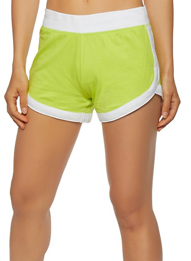 Wide Waist Dolphin Shorts,LIME,large