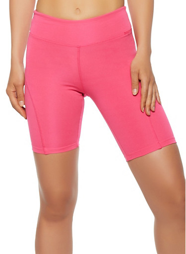 Stitched Bermuda Biker Shorts,NEON PINK,large