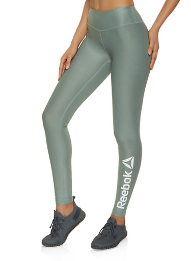 Reebok Solid Active Leggings,GREEN,large