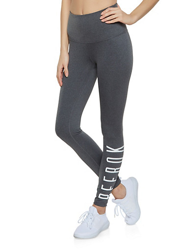 Reebok Active Leggings with Graphic,CHARCOAL,large