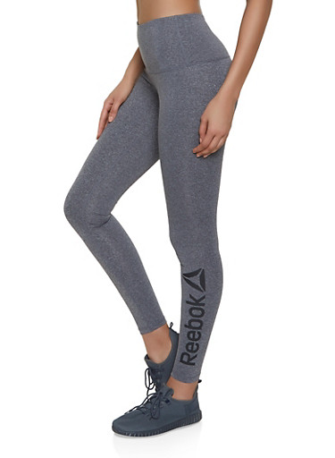 Reebok Active Leggings with Graphic Logo,CHARCOAL,large