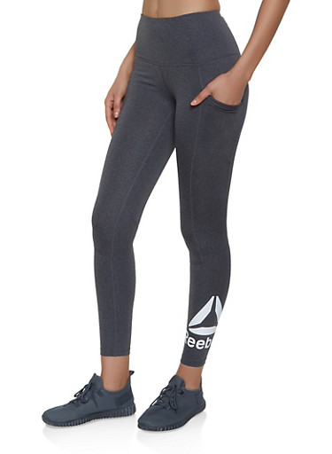 Reebok Active Leggings with Two Pockets,CHARCOAL,large