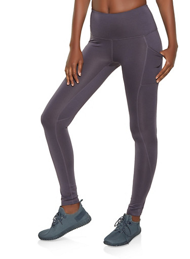 Reebok Fleece Lined Active Leggings with 2 pockets,CHARCOAL,large