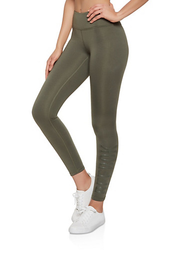 Reebok Graphic Fleece Lined Leggings,OLIVE,large