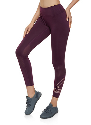 Reebok Active Leggings with Mesh Insert,PURPLE,large