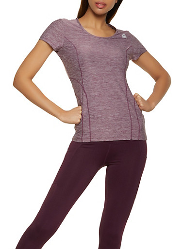 Reebok Active Top with Decorative Stitching,PURPLE,large