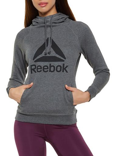 Reebok Hooded Sweatshirt with Logo,CHARCOAL,large