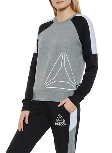Reebok Long Sleeve Crew Neck Sweatshirt,GRAY,large