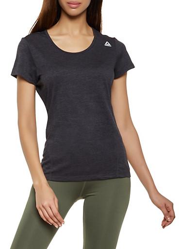 Reebok Short Sleeve Scoop Neck Active Top,BLACK,large